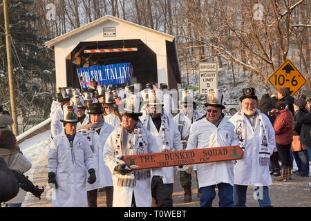 Groundhog Day festivities at the Slumbering Groundhog Lodge in Kirkwood, Lancaster County, Pennsylvania, USA - Stock Image
