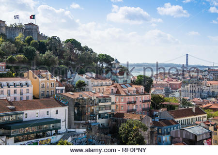 View looking down over Lisbon - Stock Image