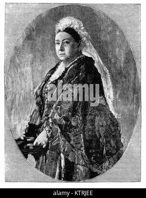 Portrait of Queen Victoria in her Jubilee Year 1887 - Stock Image