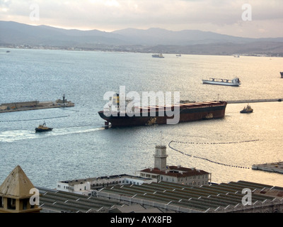 Sunset over The Bay of Gibraltar Shipyard - Stock Image