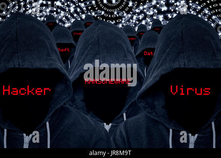 Mass of hooded computer criminals with various internet attacks and criminal activities in red text with a binary code background - Stock Image