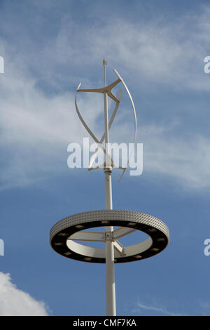 Wind turbine lighting rig at Olympic Park, London 2012 Olympic Games site, Stratford London E20 UK, - Stock Image