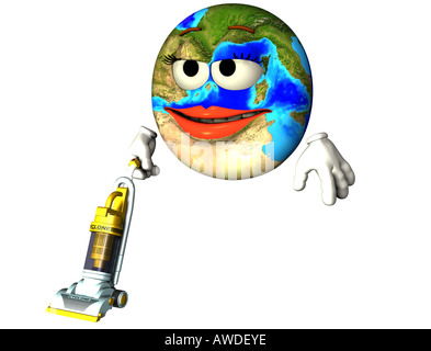 earth with vacuum cleaner - Stock Image