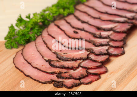 Sliced pastrami sandwich meat - Stock Image
