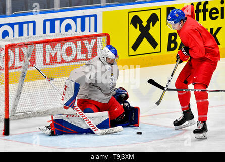 Bratislava, Slovakia. 19th May, 2019. Czech ice hockey goalkeeper Patrik Bartosak and forward Filip Chytil attend a training session of the Czech national team prior to today's match against Austria at the 2019 IIHF World Championship in Bratislava, Slovakia, on May 19, 2019. Credit: Vit Simanek/CTK Photo/Alamy Live News - Stock Image