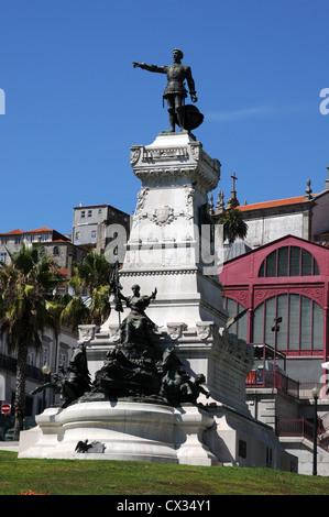Statue of Prince Henry the Navigator (Infante Dom Henrique), Oporto, Portugal - Stock Image