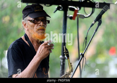Improv Jazz troupe Sun Ra Arkestra sound-checks ahead of a rare hometown appearance at the Summer Concert Series in University City, Philadelphia, PA, - Stock Image
