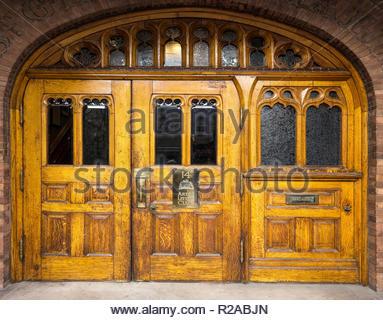 Doorway door of The Arts and Letters club in historic Saint George's Hall in Toronto Ontario Canada - Stock Image
