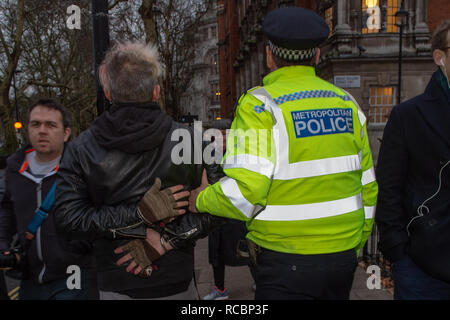 London, United Kingdom. 15 January 2019. A Protester is arrested as other protesters gather outside of Houses of Parliament ahead of the critical Brexit vote. Credit: Peter Manning/Alamy Live News - Stock Image