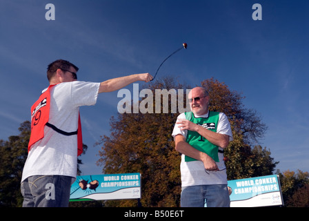 Ray Kellock Champion won winner 2010 & the 2008 World Conker Championships at Ashton Northamptonshire - Stock Image