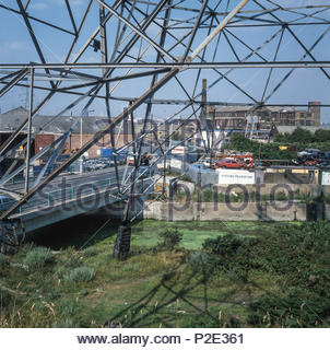 View to the North of a jumble of industries seen from the site of 2012 Olympic Stadium – now the London Stadium - in 1988. - Stock Image