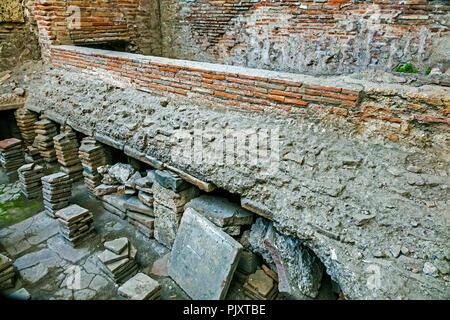 Roman Bathhouse Showing Heating Area Pompeii Campanula Italy - Stock Image