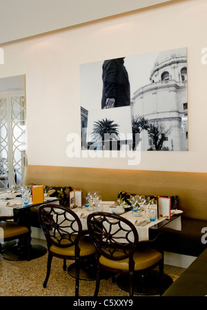Interior of Flores restaurant, housed on the ground floor of Bairro Alto Hotel in Lisbon, Portugal - Stock Image