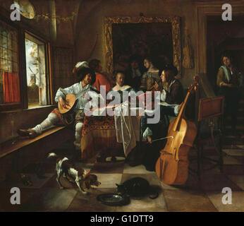 Jan Steen, The Family Concert, 1666 - Stock Image