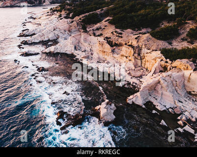 The ancient port of Aliki, the marble quarry on Thasos Island, Greece - Stock Image