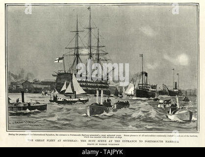Great Fleet at Spithead,  busy scene at the entrance to Portsmouth Harbour,  1902 - Stock Image