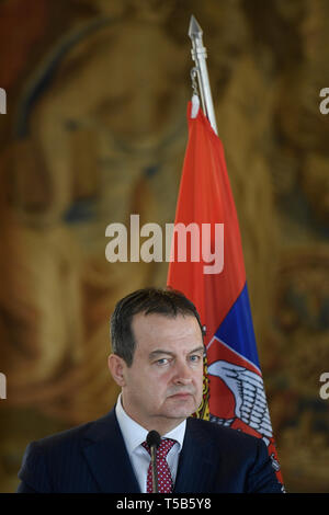 Prague, Czech Republic. 23rd Apr, 2019. Serbian Foreign Minister Ivica Dacic (pictured) and his Czech counterpart Tomas Petricek speak during the briefing on meeting in Prague, Czech Republic, April 23, 2019. Credit: Ondrej Deml/CTK Photo/Alamy Live News - Stock Image