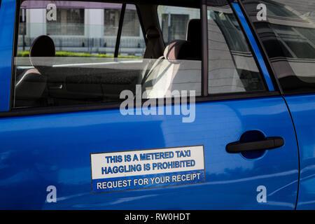 Taxi Sign, Haggling Prohibited, Kuala Lumpur, Malaysia. - Stock Image