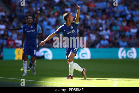 Cesar Azpilicueta of Chelsea gestures to the referee during the FA Community Shield match between Chelsea and Manchester City at Wembley Stadium in London. 05 Aug 2018 - Stock Image