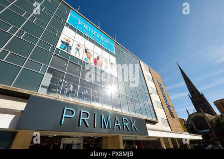 The exterior of the Primark store on Broadgate in Coventry city centre UK - Stock Image