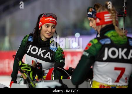 Juliane Frühwirth. The German Team Challenge takes place during the JOKA Biathlon WTC auf Schalke featuring young German biathlethes. - Stock Image