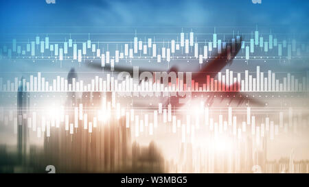 Candles chart diagram graph stock trading investment business finance concept mixed media double exposure virtual screen - Stock Image