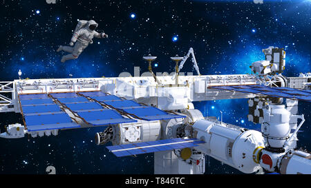 Astronaut floating above space station, cosmonaut in space with spacecraft and stars in the background, 3D rendering - Stock Image