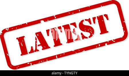 Latest red rubber stamp vector isolated - Stock Image
