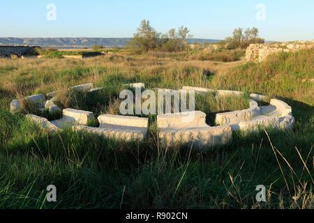 France, Bouches du Rhone, Marignane, Le Jaï, ruins of old factories (aerial view) - Stock Image