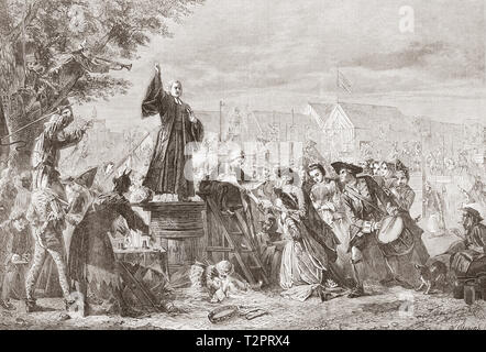 Whitefield preaching in Moorfields, London, England, 1742.  George Whitefield, 1714 – 1770, also spelled Whitfield.   English Anglican cleric and evangelist.  From The Illustrated London News, published 1865. - Stock Image
