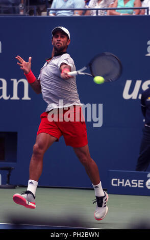 New York, United States. 29th Aug, 2018. Flushing Meadows, New York - August 29, 2018: US Open Tennis: Fernando Verdasco of Spain on his way to defeating Andy Murray of Great Britain during their second round match to at the US Open in Flushing Meadows, New York. Verdasco won the match in four sets. Credit: Adam Stoltman/Alamy Live News - Stock Image