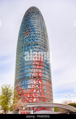 The Agbar Tower in the 22@ district, Barcelona, Spain. - Stock Image