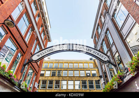 Welcome To Carnaby Street sign, Carnaby Street London England UK, Carnaby Street in London UK, Carnaby Street, London - Stock Image