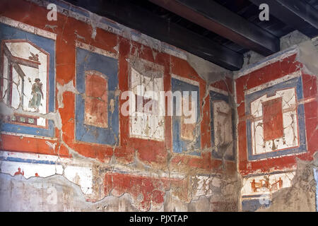 Wall painting Herculaneum Campania Italy - Stock Image