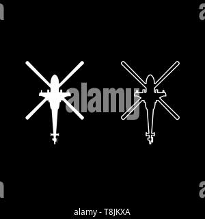 Helicopter top view Battle helicopter icon outline set white color vector illustration flat style simple image - Stock Image