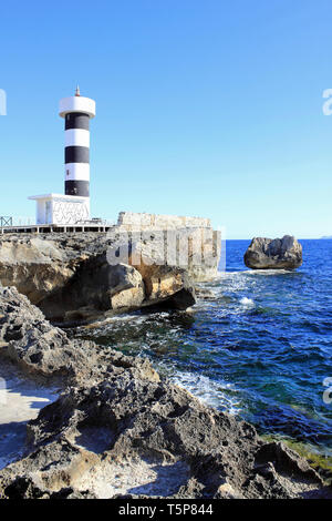 sa Puntassa Lighthouse in Faro Colonia Sant Jordi, Mallorca, Spain - Stock Image