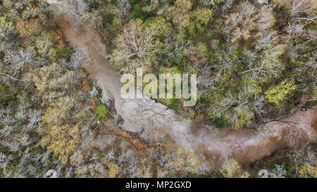 a drone image taken over a creek in Greenwood, Arkansas, USA - Stock Image