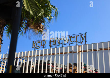 The Keo Brewery sign, Limassol, Cyprus 2010 - Stock Image