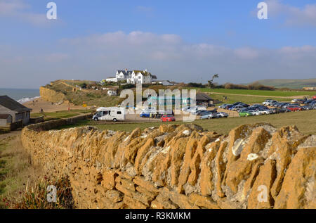 Hive beach and cafe at Burton Bradstock in West Dorset UK - Stock Image