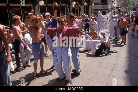 Leicester City Football fans outside pub celebrating - Stock Image