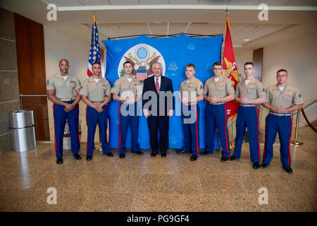 U.S. Secretary of State Rex Tillerson meets with the Marine Security Guard Detachment at U.S. Embassy in Djibouti in Djibouti on March 9, 2018. - Stock Image