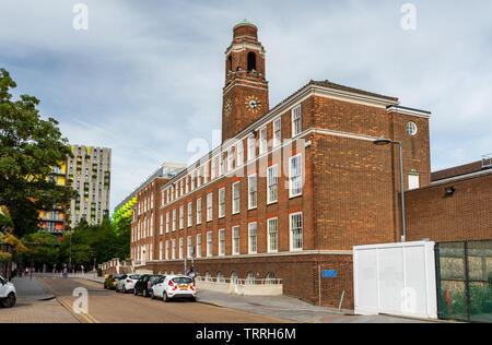 London, England, UK - June 1, 2019: Sun shines on the 20th Century brick Barking Town Hall, seat of the London Borough of Barking and Dagenham Council - Stock Image