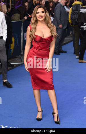 London, UK. 24th Apr, 2019. LONDON, UK. April 24, 2019: Megan Barton Hanson arriving for the 'Extremely Wicked, Shockingly Evil And Vile' premiere at the Curzon Mayfair, London. Picture: Steve Vas/Featureflash Credit: Paul Smith/Alamy Live News - Stock Image