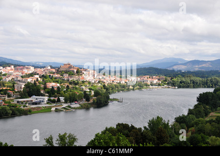 The Spanish town of Tui viewed from across the River Minho, Valenca do Minho, Portugal - Stock Image
