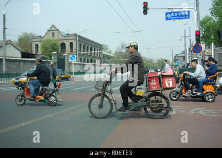 Motorbikes And Scooters in Dongsi Subdistrict, Beijing, China. - Stock Image