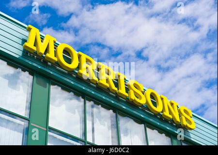 Exterior of Morrisons supermarket in Newport, South Wales, UK - Stock Image