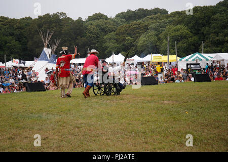 Southhampton, United States of America. 03rd, Sep 2018. William Bodeman Chapman Native American World War II veteran great the public during 72nd annual Shinnecock Indian Powwow over the Labour Day weekend in Southampton Long Island New York in Southhampton, United States of America, 03 September 2018. (PHOTO) Alejandro Sala/Alamy News - Stock Image