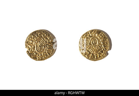 Tremissis of Suintila. He was a Visigothic King of Hispania from 621 to 831 AC. Replica - Stock Image