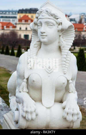 Sphinx in the Belvedere Palace gardens. Vienna, Austria. - Stock Image