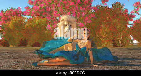 Fairy and White Lion - Fairy Glymmer keeps company with her pet white African Lion among beautiful flowering bushes and trees. - Stock Image